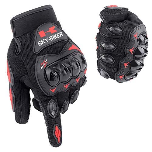 Tomuku Motorrad Handschuhe Herren Vollfinger Paintball Handschuhe mit gepolstertem Rückenseite geeignet für Motorrad Fahrrad und andere Outdoor Aktivitäten (XL, Rot)