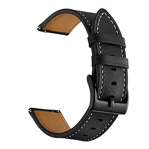 Rosok Correas Cuero de Genuino Compatible con Samsung Galaxy Watch 4 / 4 Classic (20mm), Hebilla de Metal de Acero Inoxidable, Strap de Recambio para Galaxy Watch 3 41mm / Active 2 40mm 44mm - Negro