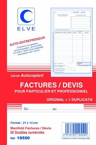 ELVE Lot de 10 Manifolds AUTO-ENTREPRENEUR Facture/Devis 21 x 14 cm Vertical 50 dupli