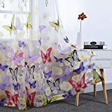 Butterfly Floral Burnout Sheer Curtains for Kids Girls Bedroom Printed Voile Drapes Rod Pocket Window Treatment for Living Room 2 Panels 52 inches Wide by 96 inches Long