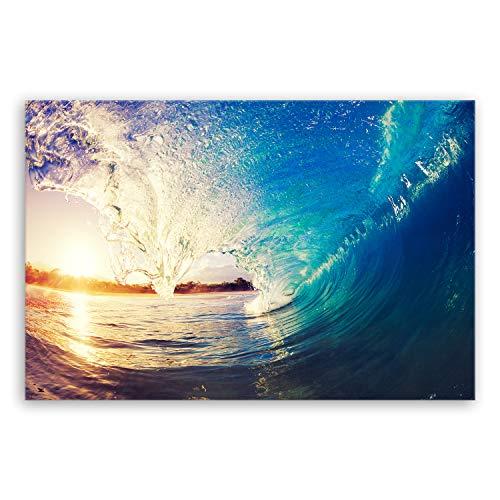 hochwertiges Leinwandbild Panorama XXL Naturbilder Landschaftsbilder - The Wave - Welle Surfen Wasser Sonnenuntergang blau gelb orange - 120 x 80 cm einteilig 2213 S