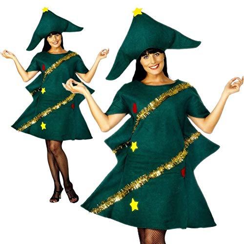 ZAK168-Costume da Albero di Natale Festa di Natale Costume novità Vestito con Cappello Travestimento per Adulti e Bambine, Come da Immagine, adult/160-170cm
