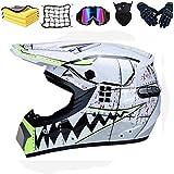 WLPAK DOT Motocross Helmet, BMX MX ATV Dirt Bike Helmet, Offroad Helmet Dirt Bike ATV Motorcycle Helmet (Gloves, Goggles, Mask,Motorcycle Net,Towel,6 Piece Set) (B)