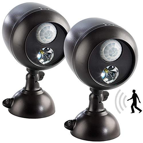 Lunartec LED Fluter: 2er-Set Kabellose Außenleuchten, PIR-Bewegungssensor, 1W-LED, 70 lm (Lampen mit Bewegungsmelder)