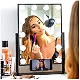 """REBEL POPPY Vanity Mirrors with LED Lights - Phone Mount, 3 Lighting Touch Control, 18.5"""" x 14.8"""", Fogless - Hollywood Lighted Makeup Mirror - Black"""