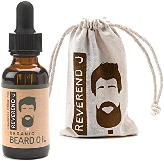 Best Beard Oil, 100% Natural & Organic Reverend J Cedar Wood Citrus & Pine Scented, Softens & Strengthens Beard, Relieves Itching for Healthy Growth. Pure Essential Oils. Great for all beard styles.