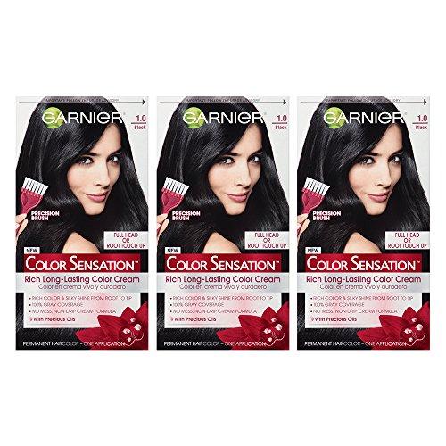Garnier Color Sensation Hair Color Cream, 1.0 In the Black (Black), (Pack of 3) (Packaging May...