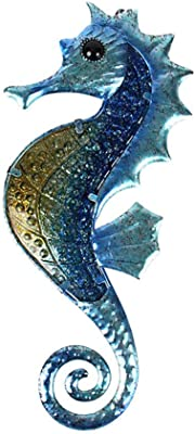 Liffy Metal Seahorse Wall Decor Bathroom Ocean Glass Art Outdoor Hanging Beach Theme Decorations Blue Sea Life Sculpture for Patio, Porch or Fence