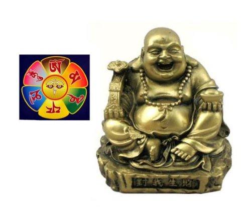 Hinky Imports Small Gold Tone Sitting Happy Buddha Statue and Buddha Eye Magnet Gift Set