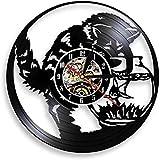 mbbvv Gato Negro Pesca Catcher Reloj de Pared Gato Gatito Gatito en el Acuario Disco de Vinilo Reloj de Pared Acuario Gatito Miau Reloj Decorativo