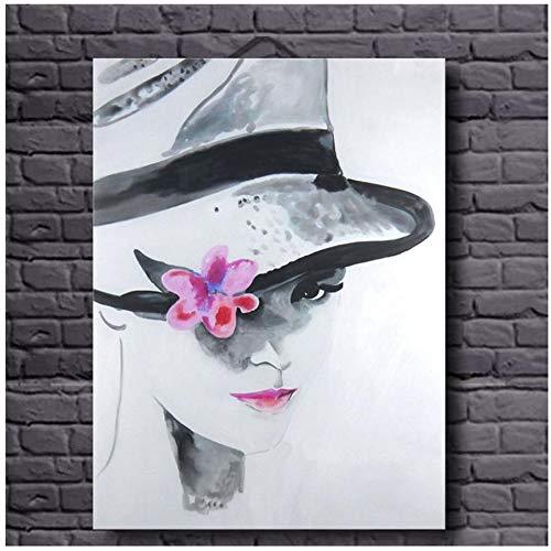 XIANGPEIFBH Handgemalte Moderne abstrakte heiße sexy Dame Modell Gesicht Ölgemälde auf Leinwand handgemachte sexy Frau mit Hut Bilder 50x60 cm / 19,7