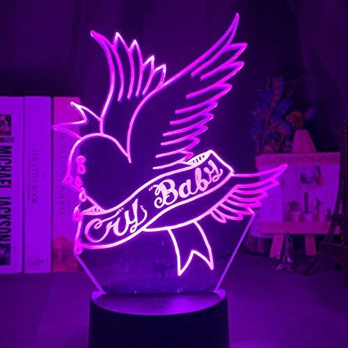 3D Night Light Rapper Lil Peep Led para decoración del hogar Regalo para los fans Decoración del dormitorio Luz Led Sensor Cambio de color Lámpara de escritorio de trabajo Control remoto
