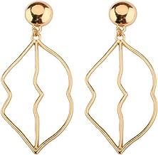 NOUMANDA Gold Plated Fashion Lips Earrings Open Mouth Stud Dangle Lips Shaped Earrings Women Party Accessories