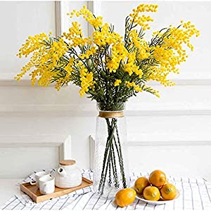 Artificial and Dried Flower 83CM Plush Australia Acacia Yellow Mimosa Spray Cherry Artificial Wedding Flower Party Event Decoration Bright Flower – ( Color: Yellow )