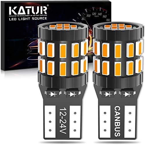 KATUR 194 T10 W5W 168 LED-lamp Amber Geel 30-SMD 3014 Chips 12-24V CANBUS Foutloze LED-lampen Vervanging voor Car Dome Map Door Courtesy Kentekenverlichting (verbeterde versie)