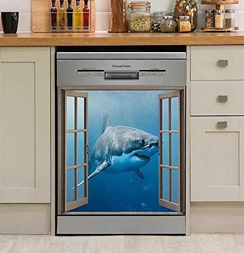 TEANQIkejitop Decoración Magnética de La Cocina de La Cubierta del Lavavajillas del Tiburón Etiqueta Engomada Magnética del Lavavajillas del Tiburón Cubierta de La Etiqueta Engomada de La