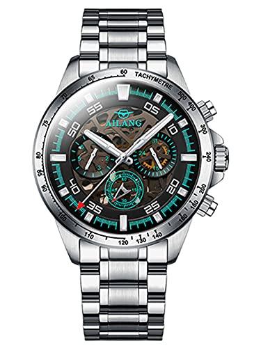 UNUORS Swiss Luminous - Reloj mecánico para hombre, resistente al agua, acero inoxidable, automático, cronógrafo, para hombre, color plateado y negro
