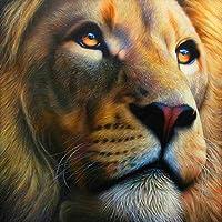 大人のための5Dダイヤモンド塗装キット、キッズオフィスの装飾、部屋、家、彼女のライオンの顔へのギフト11.8x11.8インチ