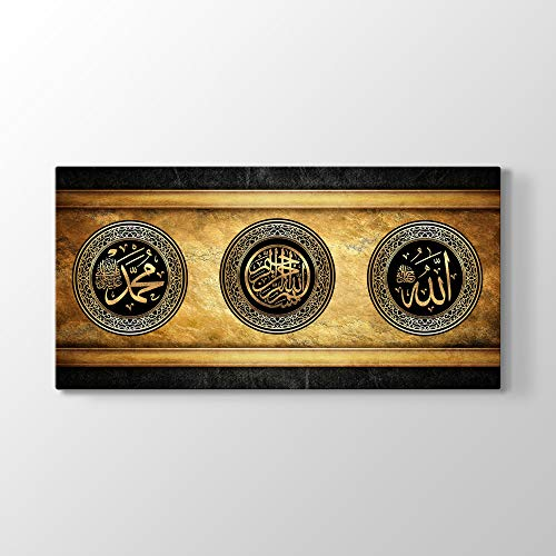 tabloshop Allah und Muhammad Besmele auf Arabisch, Arabische Kalligraphie, Islamisches Hauptwanddekor, Moderne Islamische Wandkunst, Einzigartiges Design Leinwandbild (80 x 40 cm, Gerahmt)