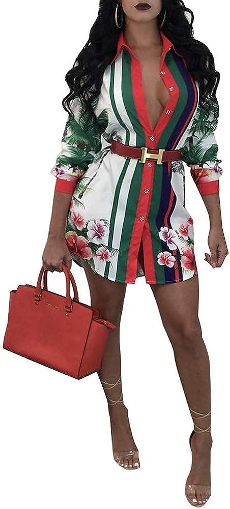 Nhicdns Shirt Dresses for Women Button-Down Sexy Floral Buchona Outfits Blouse Mini Dress