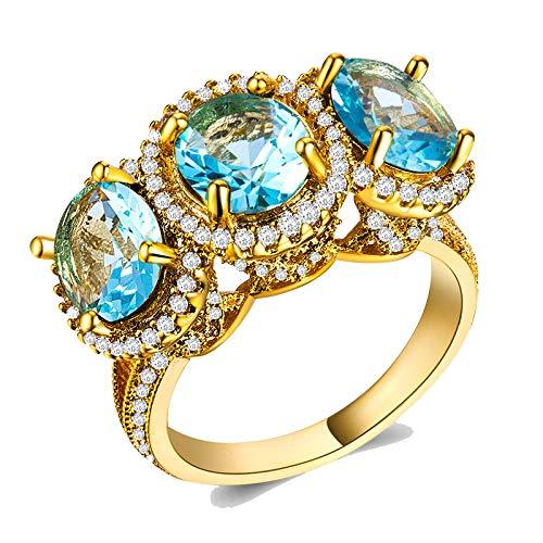 IVERIRMIN Anillos de Oro con Diamantes de Diamante Multicolor para el Club de la Fiesta