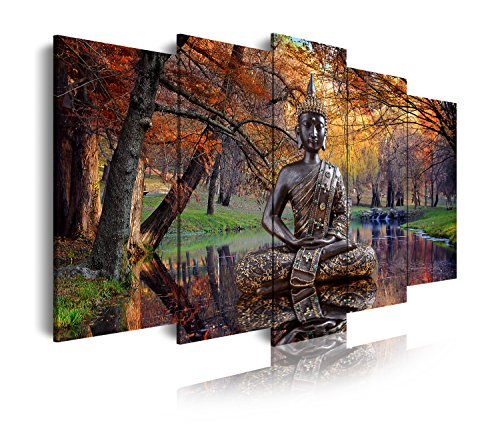 DekoArte 17 - Cuadros Modernos Impresión de Imagen Artística Digitalizada | Lienzo Decorativo para Tu Salón o Dormitorio | Estilo Buda Zen en Lago Paisaje Relajación Naturaleza | 5 Piezas 150x80cm