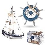 Flanacom Maritime Badezimmer Deko 3er Set - Leuchtturm, Segel-Schiff und Schatz-Truhe aus Holz - liebevoll gestaltete Badaccessoires mit Details (Design 2-3)