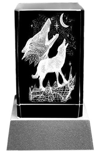 Kaltner Präsente Stimmungslicht - EIN ganz besonderes Geschenk: LED Kerze/Kristall Glasblock / 3D-Laser-Gravur Heulende WÖLFE bei Mondschein