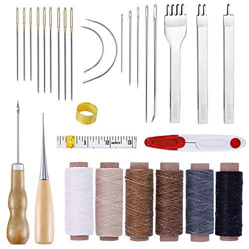 Nsiwem Juego de Herramientas de Coser de Cuero 30 piezas Hilo Encerado de Cuero 6 Color Agujas de Cuero Kit de Hilo para Coser Cuero a Mano para DIY Craft de costura