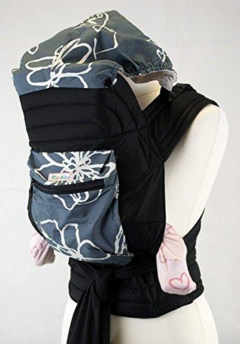 Palm and Pond Mei Tai / Babytrage mit Kapuze und Tasche - Graues, weißes Design