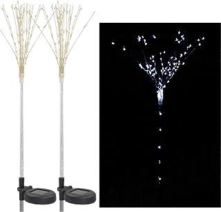 2 Pack Solar Fireworks Tree Lights With Light Sensor 100-LEDs DIY Shape White Garden Decorative Lawn Light Pathway Lamp