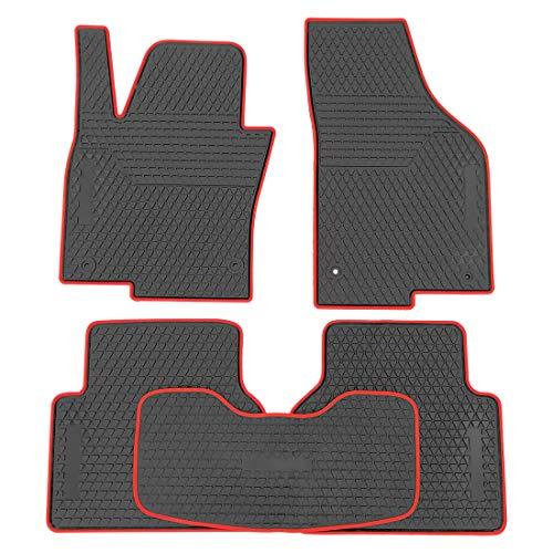 OREALTECH Fußmatte Auto für Volkswagen Vw Tiguan 2016-2019 Allwetter Original Qualität Autoteppich Latex Rot-Rot 5-teilig Automatte vorn und hinten