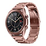 EloBeth Watch Bands Compatible with Samsung Galaxy Watch 3 Band 41mm Mystic Bronze Stainless Steel Metal Galaxy Watch 3 Bands Business Strap Accessories