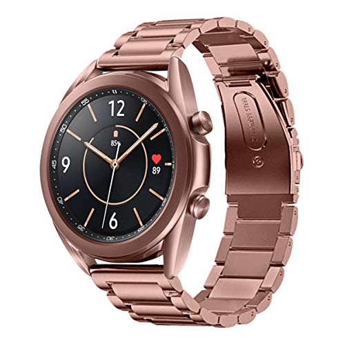 EloBeth Watch Bands Compatible with Samsung Galaxy Watch 3 Band 41mm Mystic Bronze Stainless Steel Metal Galaxy Watch 3 Bands Men Women Business Strap Accessories