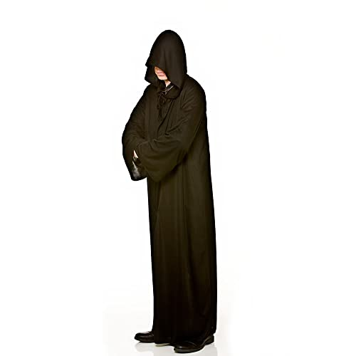 Mens Long Hooded Robe Fancy Dress (Black)(Size  One Size) 0527723bc