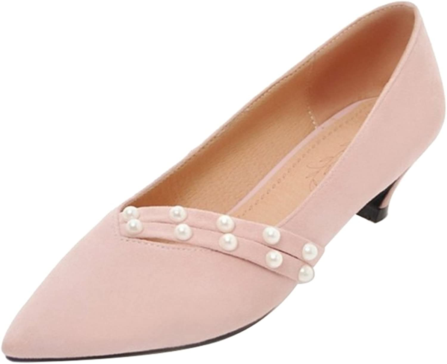 Onewus Pumps with Kitten Heel and Pointed Toe Fashion Nubuck Materail shoes