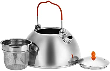 Tentock Stainless Steel Camping Tea Pot Coffee Kettle with Tea Strainer Outdoor Compact Water Kettle Cookware 0.65L/1.1L