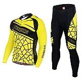 Asvert Maillot Pantalon Cyclisme Manches Longues Respirant Séchage Rapide Costumes pour Vélo VTT Unisexe (Careaux Jaune, L)