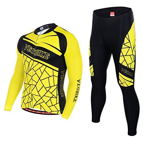 Asvert Fahrradbekleidung, Männer Langarm-Radfahren Jersey Set Mountain Biking Anzug Kleidung Kompression Hosen,Gelb und Schwarz,L