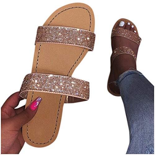 Sandals for Women Platform,2020 Sparkle Comfy Flatform Sandal Shoes Summer Beach Travel Fashion Roman Shoes Gold