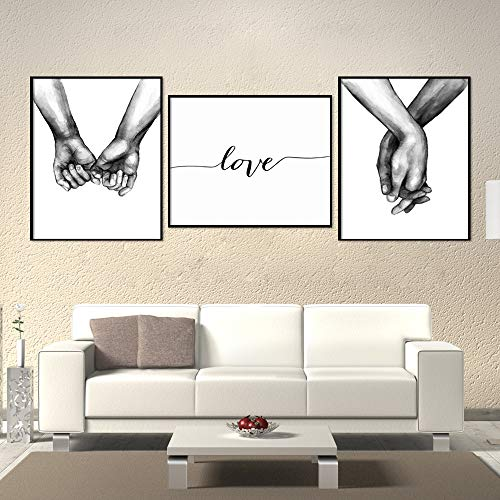 Unframed 3Set Wall Art Minimalist Painting,Love Hand in hand Minimalist Black and White Canvas