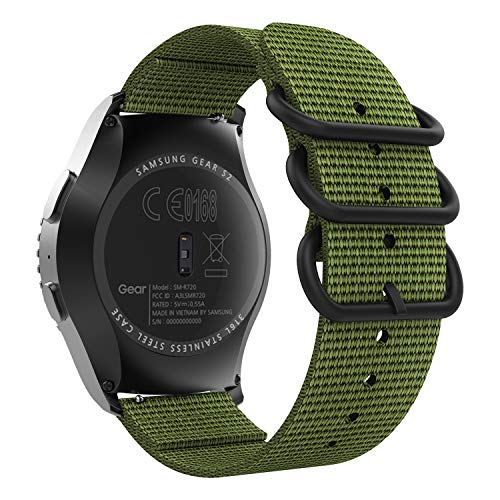 MoKo Correa Compatible con Garmin Vivoactive 3/Galaxy Watch 3 41mm/Galaxy Watch Active/Active 2/Gear S2 Classic/Galaxy Watch 42mm/Huawei Watch GT 2 42mm, 20mm Pulsera Deportivo de Reloj-ejercito verde