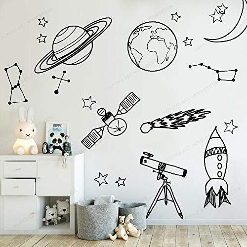 Ajcwhml Habitación de niño Herramientas de astronomía Pegatinas de Pared Espacial Espacio Exterior Cohete Nave Espacial Pintura de Pared Artista Decoración del hogar Calcomanía de Pared -74X78CM