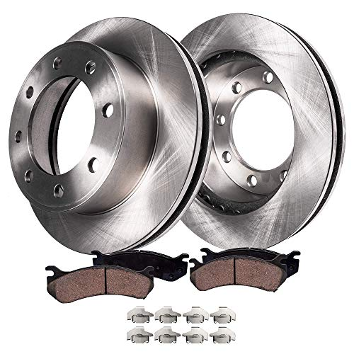 Detroit Axle - Pair (2) Rear Disc Brake Kit Rotors w/Ceramic Pads w/Hardware for 1999-2004 Ford F-250 - [1999-2004 Ford F-350 Super Duty SINGLE REAR WHEEL MODELS] - [2000-2005 Excursion]