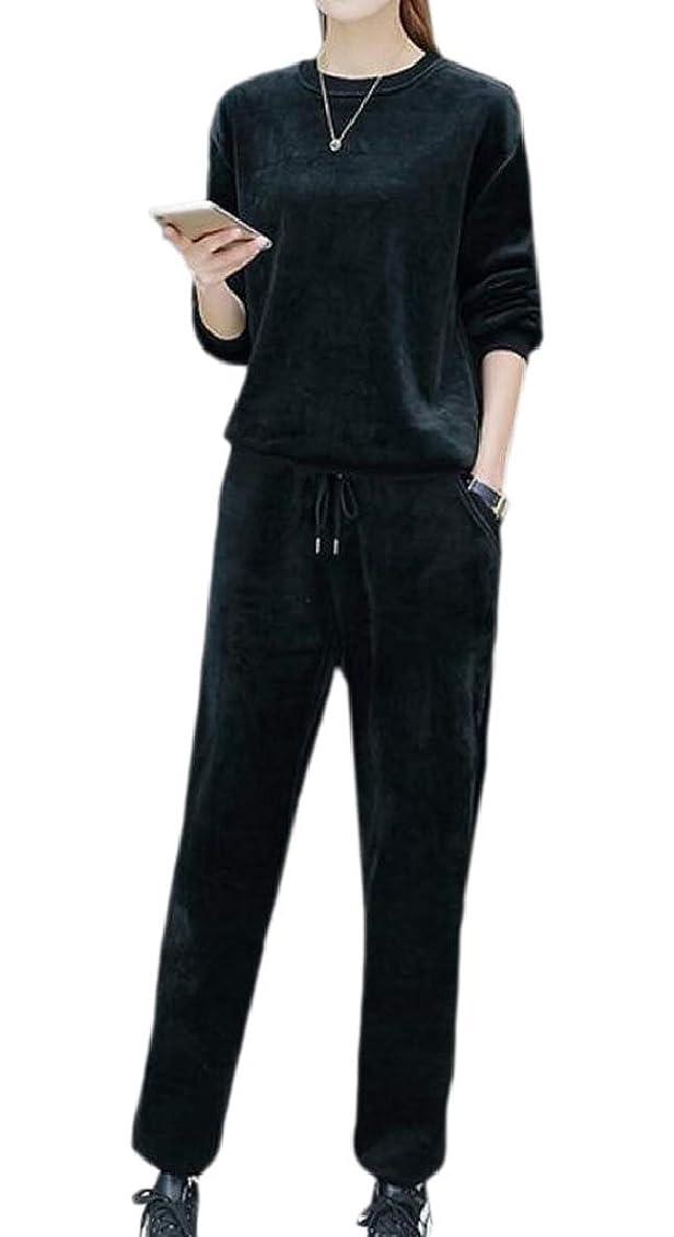 米国劣る類似性レディースベルベットクルーネックアクティブウェアスウェットパンツパンツスーツセット