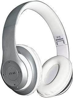Argento Cuffie Bluetooth Wireless Pieghevoli,SUAVER Senza fili Cuffie Stereo headphones con Mic,supporta FM Radio//TF,Over-Ear Cuffie per iPhone,Smartphone