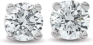 1/2Ct Round Brilliant Cut Diamond Stud Earrings in 14K Gold Classic Setting