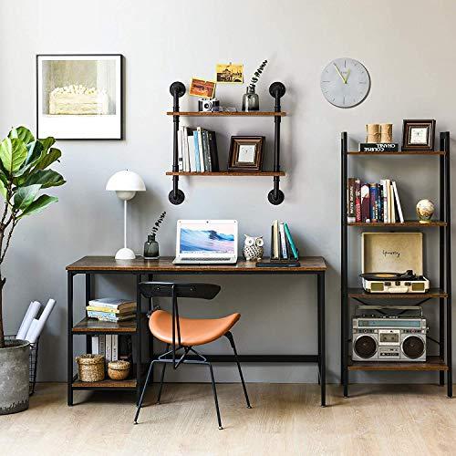Estante flotante estante de almacenamiento montado en la pared negro soporte de exhibición de plantas con soporte de metal madera maciza natural decoración del país baño dormitorio