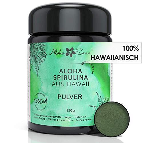 Aloha Sana ® - Hawaii Spirulina Pacifica Algen Pulver, Ultraviolettglas, laborgeprüft, energetisch getestet, Made in Germany (150 Gramm)