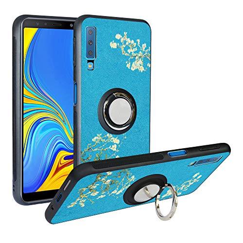 Coque Samsung Galaxy A7 2018, [Fashion Pattern] Étui TPU, Coque De Protection Antichoc, Anti Rayure Cover avec Bague Support Compatible avec Galaxy A750,Flower